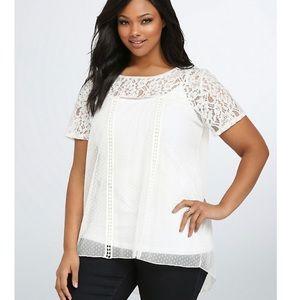TORRID   lace dot crochet tunic top 3 3X